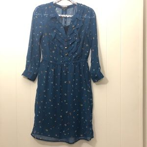 BROOKLYN INDUSTRIES Sheer Floral Ruffled Dress S